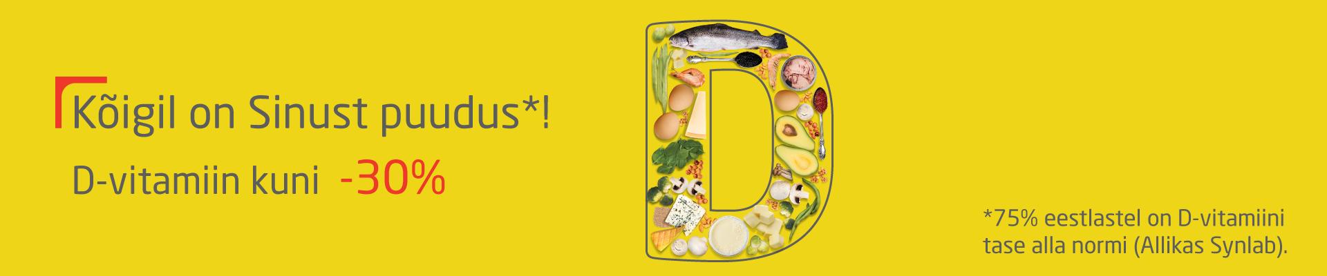 D-vitamiin kuni -30%!