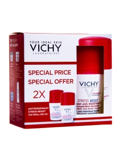 VICHY ANTIPERSPIRANT ROLL-ON 72H STRESS RESIST 2X50ML