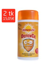 MINISUN DEFENCE C+D3 VITAMIIN NÄRIMISTBL N60